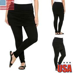 Plus Size Women Fake Two Piece Skirt Pants Skinny Slim Leggings Pencil Trousers $16.79