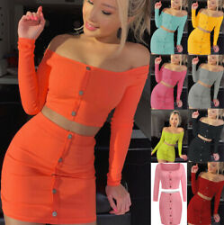 2Piece Women Sexy Crop Top and Skirt Set Lace Up Party Clubwear Bodycon Dress $18.99