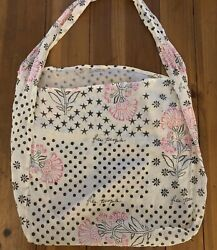 Free People Lightweight Boho Pink Floral Fabric Reusable Shopping Tote Bag Purse $9.95