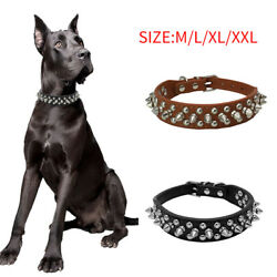 PU Leather Dog Collars Adjustable Spiked Studded Rivets Puppy Neck Pet Collar $8.79