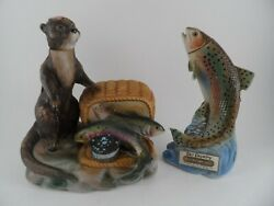 Vintage 1970s Ski Country Mini Decanters Rainbow Trout amp; River Otter Japan $67.49
