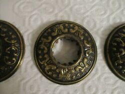 3 Vintage Brass Embossed Chandelier Bobeches Light Canopies 3 1 4quot; Exc $8.99