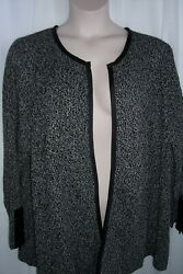 Catherines Plus 5X Black White Open Front 100% Cotton Cardigan Sweater NEW $27.99