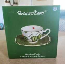 Harry and David Teacups and Saucers 4 Ceramic Sets Garden Party Spring Green NIB $28.99