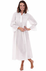 Alexander Del Rossa Womens 100% Cotton Long Bell Sleeve Victorian Nightgown $19.99
