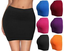 Womens Mini Stretch Mesh Look Solid Basic Bodycon Skirt $10.95