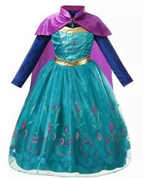 Anna Deluxe Long Sleeve Princess Costume Kid Halloween Party Girl Dress Up Gown $24.98