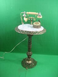 Vintage Brass amp; Marble Floor Table with Push Button Phone amp; Pen Holder $259.95
