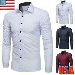 Stylish Men Button Down Long Sleeve Slim Fit Casual Dress Shirt Business Top US $10.49
