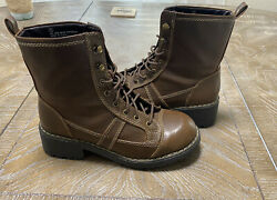 Autumn Run Brown Women's Size 7 Faux Brown Leather Winter Combat Boots $20.00