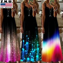 Women#x27;s Summer Casual Long Maxi Dress Ladies Print Beach Sleeveless Sun Dresses $15.59