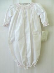 Petit Ami Smocked Convertible Bag to Longalls amp; Hat 1169 White Newborn #10504 $14.90