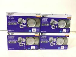 4PK Commercial Electric 3quot;Brushed Nickel New Construct Remodel LED Swivel Trim