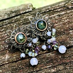 Vintage Filigree Brass Green Stone w Chandelier Purple Beads Pierced Earrings $3.70
