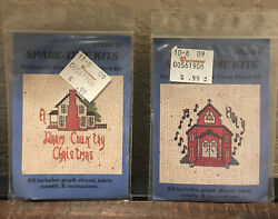 Spare Time Christmas Mini Beginner Counted Cross Stitch Kits 2 Kits Vintage $4.99