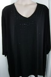 Catherines Plus 5X 34 36W Black Sparkle Studs LIGHTWEIGHT Top Tunic New $20.99