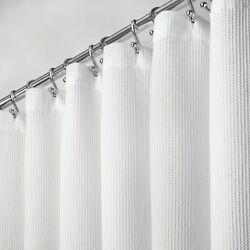 mDesign EXTRA LONG Cotton Waffle Weave Fabric Shower Curtain 72quot; x 96quot; White $24.99