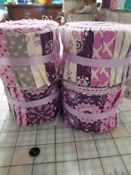 NEW JELLY ROLL 20 STRIPS PURPLE LAVENDER GRAY FABRIC FLOWERS 2.5quot; X 42 MATERIAL $12.99