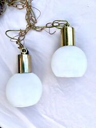 Pair MID CENTURY MODERN 6 inch Gold GLOBE PENDANTS fixture Atomic Eames $45.00