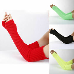 Womens Stretchy Long Sleeve Fingerless Gloves Warm Knitted Mittens Arm Warmers $4.99