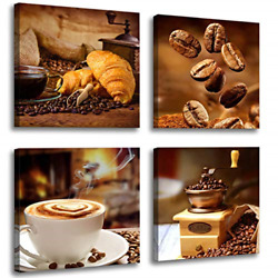 Kitchen Canvas Art Coffee Bean Coffee Cup Canvas Prints Coffee Wall Decor 4 to $38.92
