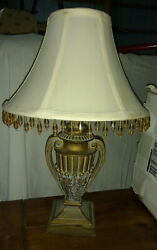 Boudoir Table Lamp Small Aged Brass Trophy with Bead Fringe Shade $36.98