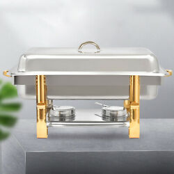 Chafing Dish Buffet Catering Sets w Foldable Frame Stainless Steel Pans 8 Quart $45.00