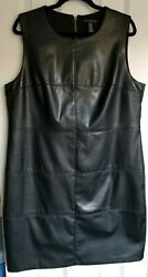 Chico#x27;s Faux Leather Sleeveless Black Dress Party Cocktail Size 2.5 14 L $36.00