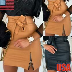 Women Leather High Waist Pencil Skirt Ladies Wet Look Club Bodycon Mini Dress US $16.73