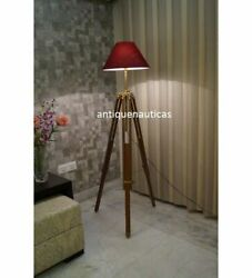 Nautical Designer Floor Shade Lamp Brown Tripod Handmade Decor Without Shade $110.25