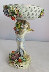FABULOUS VICTORIAN ANTIQUE FIGURAL PORCELAIN COMPOTE WITH CUPID. MEISSEN STYLE $195.00