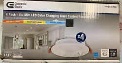 Commercial Electric 4 Pack 4quot; Slim LED Color Changing Recessed Kit 1003 531 998