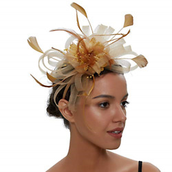 Sinamay Vintage Women Fascinators Derby Hat Feather with Headband Cocktail for 2 $17.52