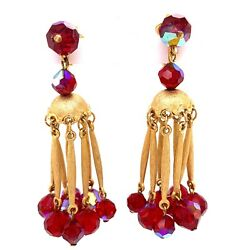 VTG Trifari Gold Tone amp; Maroon Rhinestone Dangling Chandelier Clip Earrings 33 $34.99