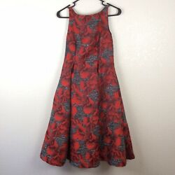 Adrianna Papell Floral Cocktail Lined Dress Sleeveless Open Back Womans 4 Petite $10.99