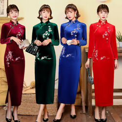 Chinese Traditional Cheongsam Women Long Velvet Dress Ball Costume Party Wedding $45.00