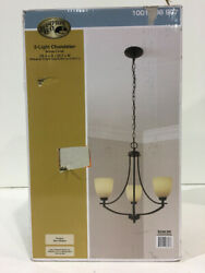 Hampton Bay 3 Light Bronze Chandelier with White Frosted Glass Shade New $64.99