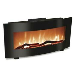 34quot; Black Curved Tempered Glass LED Modern Wall Electric Fireplace w Remote $224.99