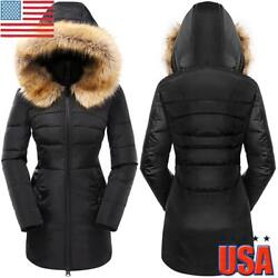 Women Fur Hooded Jacket Coat Ladies Puffer Quilted Winter Warm Parka Overcoat US $38.42