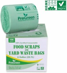 ProGreen 100% Compostable Bags 6 Gallon Extra Thick 0.87 Mil 30 Count Small $44.99