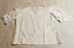 OC Order Plus Women#x27;s Cold Shoulder V Neck Blouse SV3 White Medium NWT $6.99