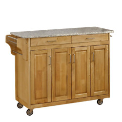 Create a Cart Natural Kitchen Cart with Salt and Pepper Granite Top $550.99