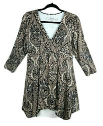 Soma Womens Size M Brown Paisley Empire Soft V Neck Tunic Top 3 4 Sleeve New $69 $29.99
