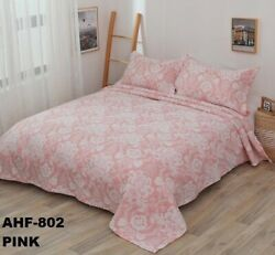 CRYSTAL VINTAGE FLOWERS PINK BEDSPREAD QUILTED SET 3 PCS QUEEN SIZE $44.99