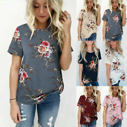 US Womens Floral Print Tops Plus Size Blouse Summer Short Sleeve T Shirt Tee Top $6.23