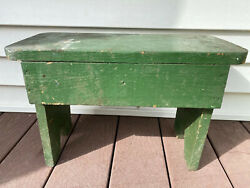 Antique Wooden Stool Bench Old Green Paint $24.99