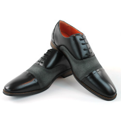 Mens Cap Toe Black Dress Shoes Lace Up Oxfords Mid Fabric Leather Santino 471 $38.95