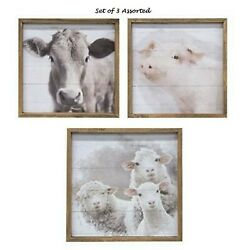 Farmhouse Prints COW SHEEP PIG Picture Faded Rustic Wall Decor Wood Framed 12quot; $44.95