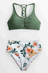 CUPSHE Women#x27;s Celadon Green Floral Lace Up High Waisted Multi color Size 12.0 $9.99
