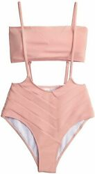 CUPSHE Women#x27;s Peach Bandeau High Waist Suspender Two Piece Pink Size X Small $13.99